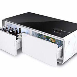 שולחן אירוח לסלון מעוצב כולל מערכת סאונד ומקרר לאחסון Caso Design sound&cool